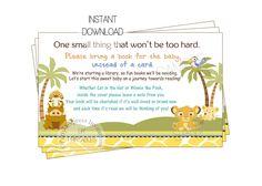 partyexpressinvitations - Baby Simba Book Insert Card for Baby Shower, $4.00 (http://www.partyexpressinvitations.com/baby-simba-book-insert-card-for-baby-shower/)