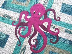 Octopus applique: Summer Sewing ~ More Fun With Machine Appliqué Bag Patterns To Sew, Applique Patterns, Applique Quilts, Embroidery Applique, Quilt Patterns, Applique Ideas, Fish Patterns, Sewing Patterns, Quilt Baby