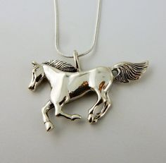 Sterling silver Large running horse pendant by celtictreasures
