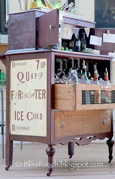 Repurposed Dresser Inspiration - lots of ideas.  Old Dresser Converted to Beverage Center