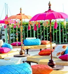 Lounge seating with lots of plush pillows is perfect for a mehndi party. If your… Lounge seating with lots of plush pillows is perfect for a mehndi party. If your event is outdoors, add a burst of color with umbrellas… Continue reading → Mehndi Decor, Outdoor Wedding Reception, Wedding Stage, Reception Ideas, Wedding Seating, Reception Activities, Reception Seating, Wedding Receptions, Wedding Mandap