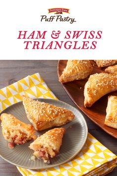 Puff Pastry Ham & Swiss Triangles Recipe. This appetizer is absolutely fabulous for your Easter brunch, lunch or dinner. It's also a perfect way to use your leftover ham! To make, fold mushrooms, onions, diced ham and cheese into Puff Pastry pockets. Bake for just 15 minutes to achieve melty, flaky, cheesy deliciousness that your family and friends won't be able to resist.