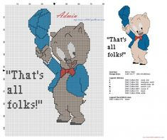 Porky Pig Looney Tunes simple cross stitch pattern with use of back stitch (click to view)