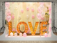 Golden Love Letters Photography Backdrops Pink Balloons Curtain Background Photo for Baby Shower Backdrop (Soft Fabric) Valentine Backdrop, Birthday Backdrop, Birthday Background, Letter Photography, Flash Photography, Photography Backdrops, Wedding Photography, Balloon Background, Heart Background