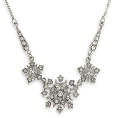 Downton Abbey; Silver-Tone Crystal Starburst Statement Necklace - BedBathandBeyond.com $38 - looks like snowflakes to me