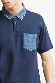 [MEN]데님 트리밍 폴로 티셔츠
