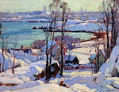 """Plein Aire in Maine- painting pictured here is """"Winter Harbor Scene with City Views Beyond"""" by Aldro Hibbard."""