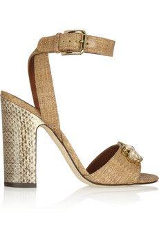 Dolce+&+Gabbana+Embellished+raffia+and+ayers+sandals+|+NET-A-PORTER