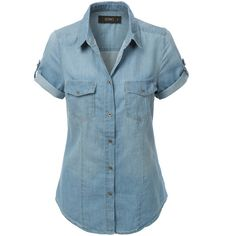 LE3NO Womens Cuffed Short Sleeve Chambray Denim Shirt ($19) ❤ liked on Polyvore featuring tops, blue denim shirt, denim shirt, lightweight shirt, shirt top and sleeve shirt