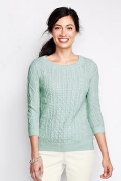 Women's 3/4-sleeve Lofty Blend Cable Marl Pullover Sweater from Lands' End
