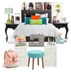 """""""•My Room•"""" by crescent-8262 ❤ liked on Polyvore featuring Howard Elliott, Avery, Marimekko, Surya, Jiti, Tommy Mitchell, CB2, Pottery Barn, Converse and Singer"""