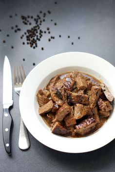 Sliced Tenderloin Steak in Butter Sauce - use Xanthan Gum as a thickener instead of flour for a delicious Keto dinner.