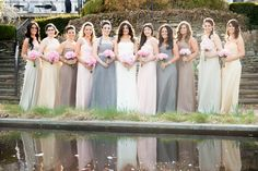 Amsale Bridesmaids in a combination of Champagne, Vanilla, Truffle, Blush and Slate chiffon gowns. Photo by Rob and Lindsay - Wedding Photographers