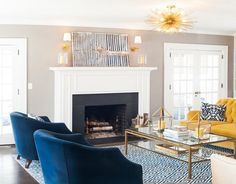 Pastel Color Palette Blue Living Room Beautiful 75 Inspiring Blue Living Room S . Blue And Yellow Living Room, Living Room Turquoise, Navy Blue Living Room, Living Room Accents, Living Room Photos, Living Spaces, Beautiful Living Rooms, Room Colors, Living Room Designs