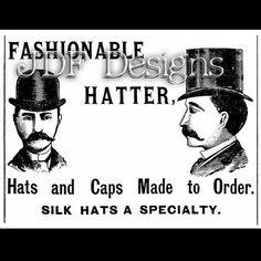 Instant Digital Download, Vintage Victorian Graphic, Men's Top Hat Hatter Ad, Advertisement, Antique Printable Image Typography Steampunk