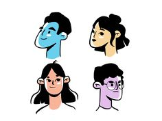 Faces designed by zara magumyan. Connect with them on Dribbble; the global community for designers and creative professionals. Illustration Design Graphique, Face Illustration, People Illustration, Character Illustration, Digital Illustration, Art Illustrations, Simple Character, Character Design, Portrait Vector