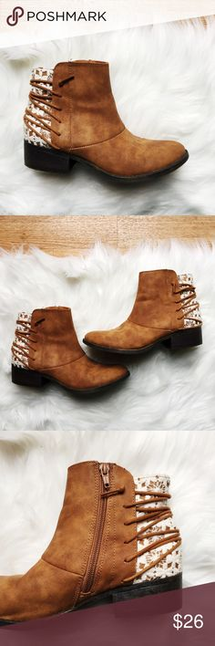 Tan Ankle Boots W/ Crochet Back Detail Tan Ankle Boots W/ Crochet Back Detail. Great condition. Very clean inside. Slight scratches on the inner side of the left shoe. ** IMPORTANT ** these shoes are a girls size 5. They fit me perfect & I'm a women's 6-6.5. Happy to answer any questions! Thanks for looking!   OFFERS are welcome!  ** 15% off Bundles of 3+ ** Smoke free home. No trades. Shoes Ankle Boots & Booties