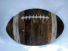 Reclaimed Wood Football 30 x by ConversationBits on Etsy - ̗̀ ριитєяєѕт ❥❥❥ Football Nursery, Football Rooms, Football Crafts, Pallet Crafts, Pallet Art, Wood Crafts, Barn Wood Projects, Reclaimed Wood Projects, Pallet Projects