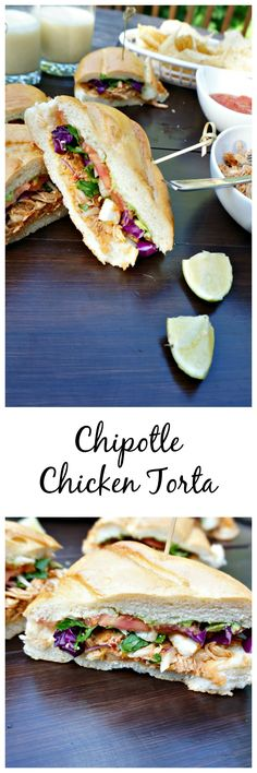 """Chipotle Chicken Torata: A Mexican Sandwich made with slow cooked chipotle chicken, crunchy cabbage, sharp queso fresco, and creamy avocado is one sandwich that will have you screaming """"Ole!"""""""