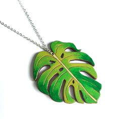 Colourful Cactus Flowers Jewellery Leaf Necklace, Pendant Necklace, Laser Cut Jewelry, Cactus Flower, Unique Jewelry, Silver, Tropical, Flowers, Color