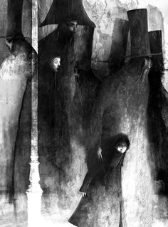 """Haunting illustration (2012) for """"Los Miserables"""" by Mexican illustrator Gabriel Pacheco. ty, pray nightfall. via the artist's blog"""