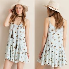 """""""Spirit Animal"""" Strappy Floral Mini Dress Sky blue mini dress with floral prints. Only available in this color. Brand new. Loose fitting. NO TRADES. PRICE FIRM Bare Anthology Dresses Mini"""