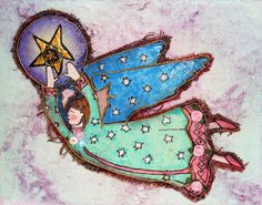 childrens angel wall art  unique  mixed media by ThisArtOfMineUS, $49.00