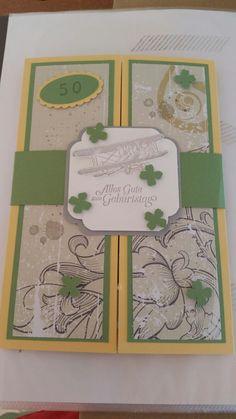 Stampin up Karte zum 50. Geburtstag (innen ist ein kleiner Umschlag)