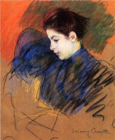 1894 Young Woman Reflecting - Mary Cassatt Pastel collection privée