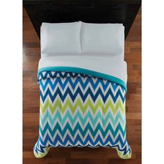 Mainstays Chevron Bedding Comforter - blues and lime green