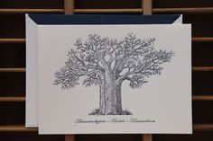 Letter Press Company luxury Bespoke Stationary - Baobab Tree note cards