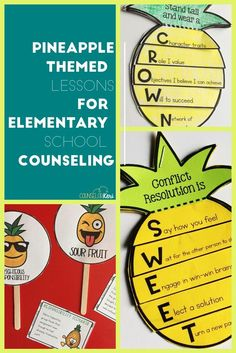 This 15-lesson set of classroom guidance lessons for elementary school counseling has a fun pineapple theme! Students meet the counselor, practice enjoyable regulation strategies, learn about career development, talk about responsibility, and much more! The lesson pack includes fun, movement-based games and sweet pineapple crafts!