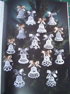 Christmas DIY: USA Free S 16 Croche USA Free S 16 Crocheted Bells Patterns Christmas Ornaments Shower Favors Weddings Anniversaries Crochet Christmas Decorations, Crochet Decoration, Crochet Ornaments, Crochet Crafts, Holiday Ornaments, Crochet Projects, Christmas Crafts, Angel Ornaments, Crochet Snowflake Pattern