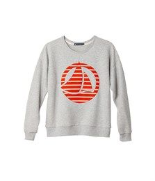 Sweat-shirt femme en molleton brossé uni à patch logo rayé gris Beluga - Petit Bateau