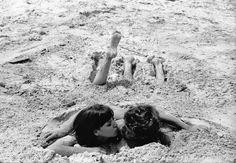 Anna Karina & Jean-Paul Belmondo photographed on the set of 'Pierrot le fou'   1965