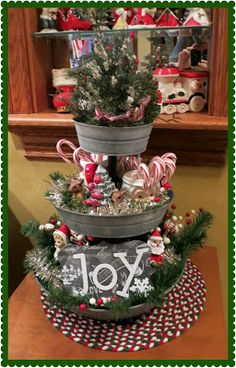 Pinterest-Inspired Christmas arrangement in 3-tier tray from Pick Your Plum.