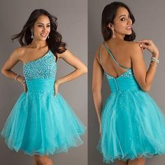 Teal one shoulder baby doll dress Light Blue Homecoming Dresses, Grad Dresses, Dance Dresses, Ball Dresses, Ball Gowns, Evening Dresses, Prom Gowns, Dress Prom, Bridesmaid Dress