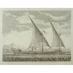 Finely executed maritime engraving of a French galley under full sail in the Mediterranean, with the shoreline in the distance. Smoke billows from a cooking stove behind a smaller boat — each inside the large galley towards the middle. This was printed as part of a series of 17 folio copperplate engravings of French and Turkish vessels active in the Mediterranean executed by Claude Randon after drawings by French naval officer Henri Sbonski de Passebon. Pictorial Maps, Full Sail, Cooking Stove, French Army, Army & Navy, France, Small Boats, Grand Tour, Antique Prints