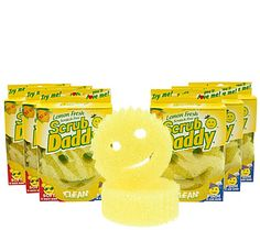 The smiling Scrub Daddy you love now come in pleasant scents that make cleaning even more enjoyable. Its highly engineered polymer makeup changes texture with the temperature. Use hot water for more gentle cleaning and cold water for a rougher scrub. Scrub Daddy rinses clean so it doesn't hold debris like a traditional kitchen sponge can. From Scrub Daddy. QVC.com