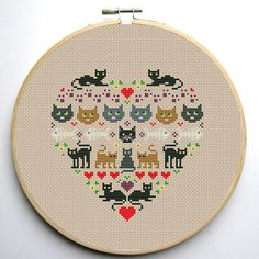 Heart and Cats 1 cross stitch pattern | Craftsy