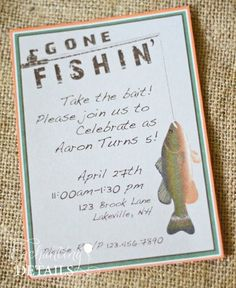 Gone Fishing Party Invitations Decorations Printable Party Kit