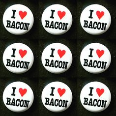 #InternationalBaconDay calls for you to cook up some bacon! These pins are available at the store for all of the bacon lovers out there! #sadiegreens #bacon