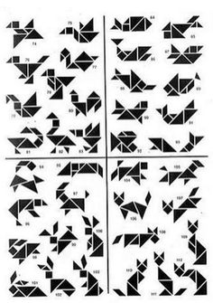 Style: tangram, like origami but Tangram Puzzles, Logic Puzzles, Iq Puzzle, Brain Teasers, Math Games, Maths, Pattern Blocks, Geometric Designs, Diy For Kids