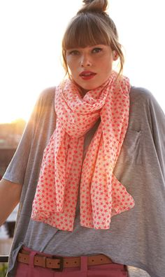 great scarf - love this shade with grey