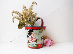 Vintage tin litho sand pail by Ohio Arts Co by GhostsandGarters, $56.00