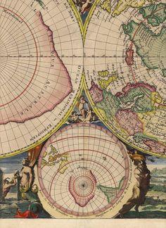 Mortier Poles, Antique world map