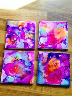 First attempt at alcohol ink coasters :)