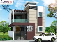 view of the building providing complete perspective of House Front View Front Elevation Designs, House Elevation, Shipping Container Home Designs, Container House Design, House Front Design, Modern House Design, Dream House Plans, Modern House Plans, Bungalow