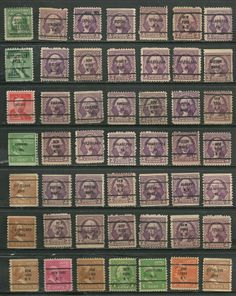 48 US Definitives # 721 -3¢ Washington, # 720 -3¢ Washington PA precancel stamps