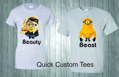 MINIONS BEAUTY AND THE BEAST T-SHIRT MATCHING CUTE LOVE T-SHIRTS COUPLES NEW  #Gildan #GraphicTee